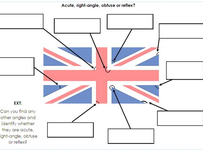 Year 5 / 6 - Finding acute, right-angle, obtuse and reflex angles in flags  - Differentiated sheets