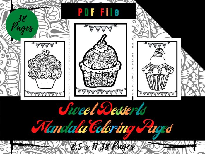 Sweet Desserts Mandala Colouring Pages, Sheets PDF, Printable Pages