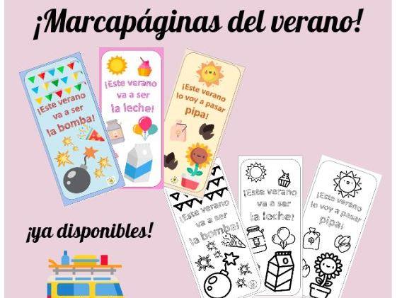 Marcapáginas del verano. Summer bookmarks. Summer activities. Actividades de verano. Spanish idioms.