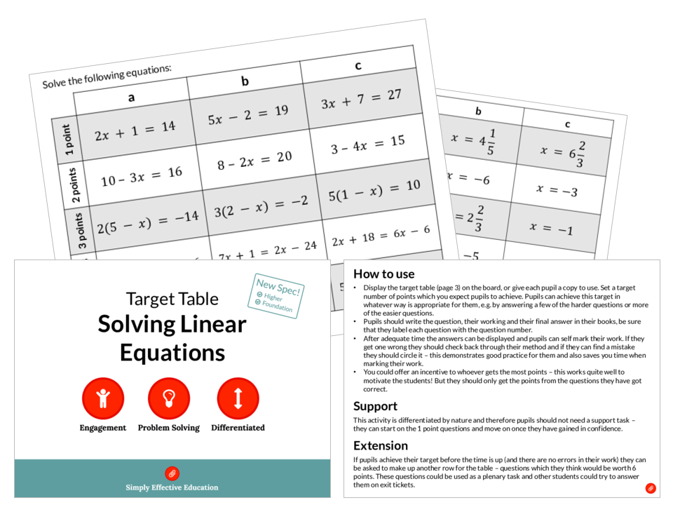 Solving Linear Equations (Target Table)