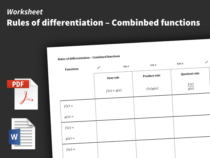 Worksheet – Rules of differentiation – Combined functions