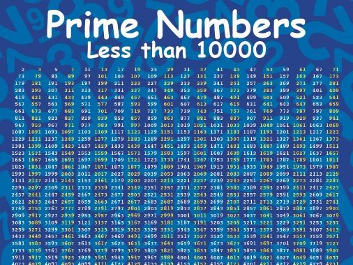 PRIME NUMBERS Less than 10000 POSTER sizes A3, A2 and A1