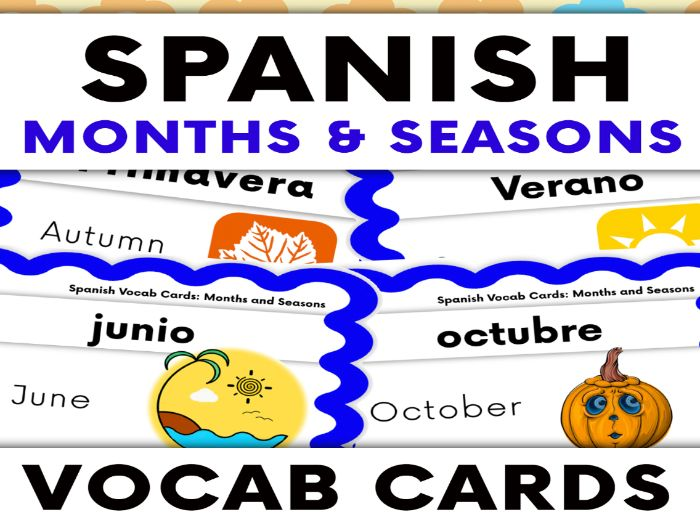 Months and Seasons in Spanish Vocabulary Cards