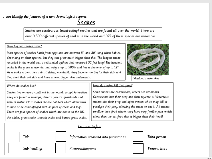 KS2 differentiated non-chronological report WAGOLL editable with features to spot & colour code