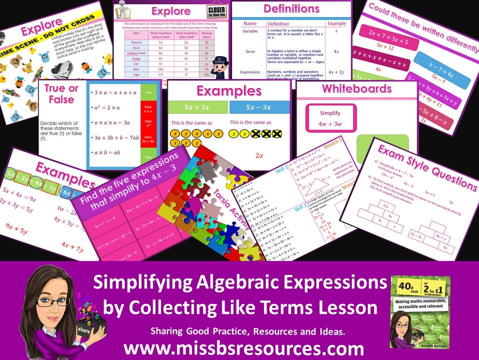 Simplifying Algebraic Expressions by Collecting Like Terms - Lesson differentiated, Quizzes & Exam Q