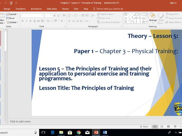 AQA GCSE PE (New Specification) Chapter 3: Physical Training - Principles of Training - Lesson 5