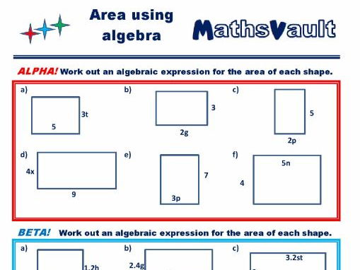 Calculating Area Using Algebra Differentiated Worksheet