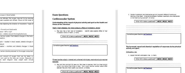 AQA A Level Section A Homework/Plenary/Exam Question Booklet