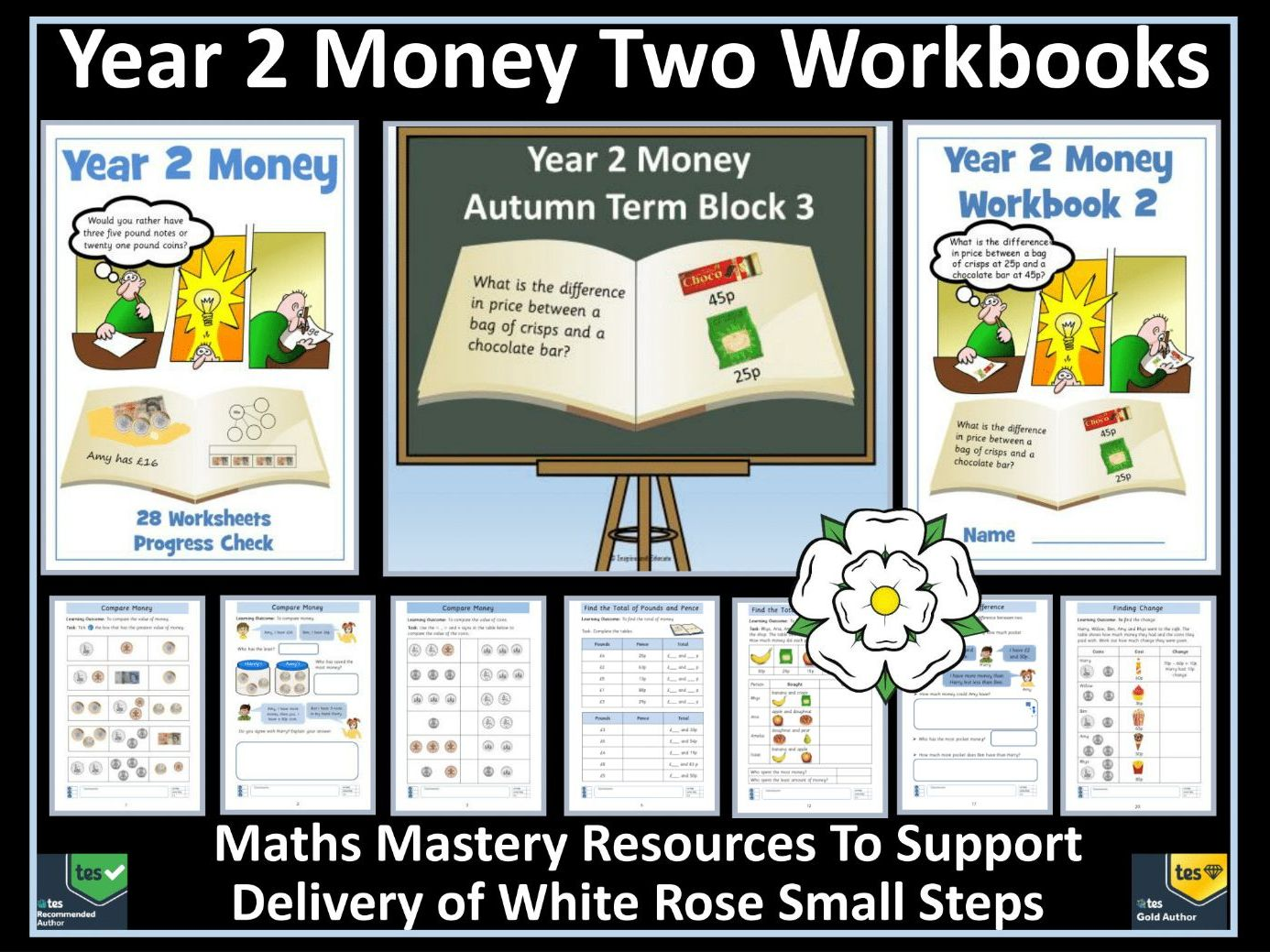 Money: Year 2 Money - Autumn - Block 3 - Two Workbooks - To Support White Rose Maths Small Steps