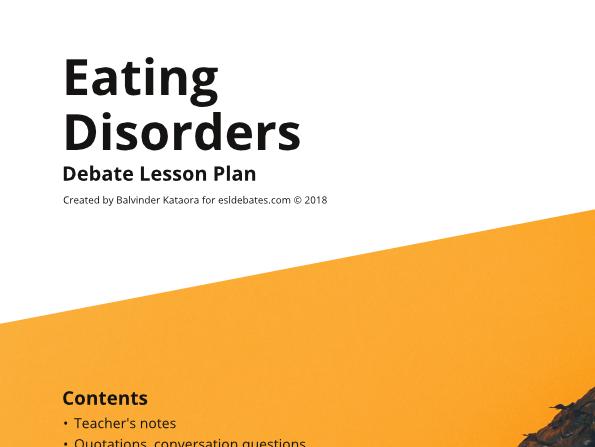 Eating Disorders - Complete Debate Pack