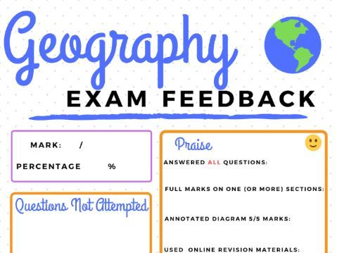 Whole-Class Geography Exam Feedback Sheet