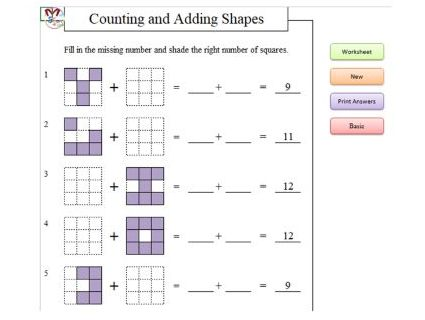 Counting and Adding Shapes with Higher Order Thinking (Software)