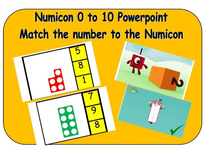 Numicon and number recognition - Match the Numicon to numbers 1-10 powerpoint