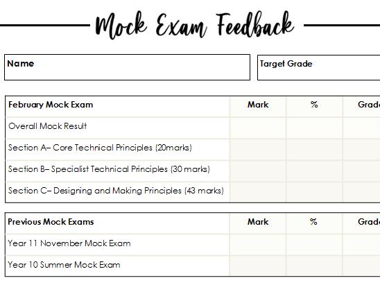Mock Exam Feedback Sheet