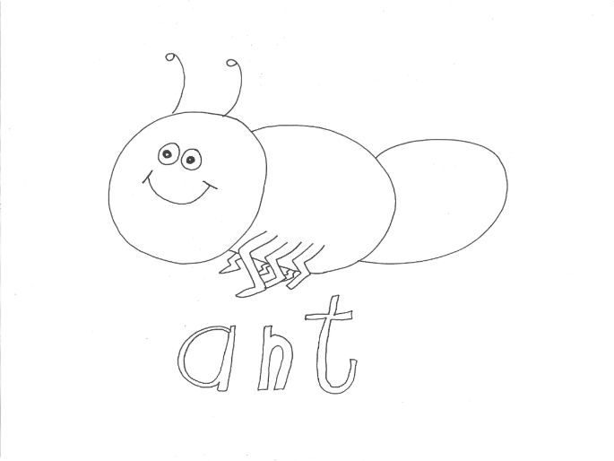 Ant (Bugs, Insects, Minibeasts) Colouring Page