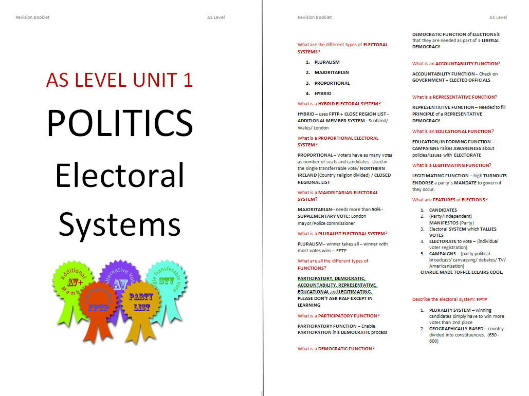 Edexcel Government & Politics Electoral Systems Booklet