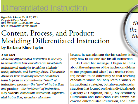 Content, Process, and Product: Modeling Differentiated Instruction
