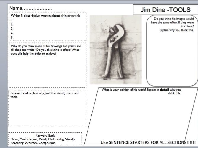 Jim Dine Artist Analysis Planning Sheet ks3 / 4