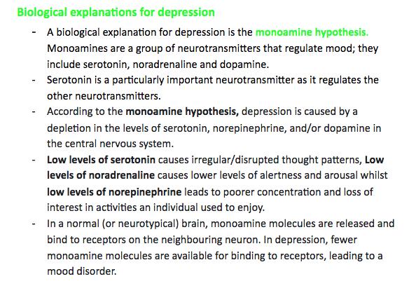 Edexcel A Level Psychology- Biological&Non-biological explainations for depression