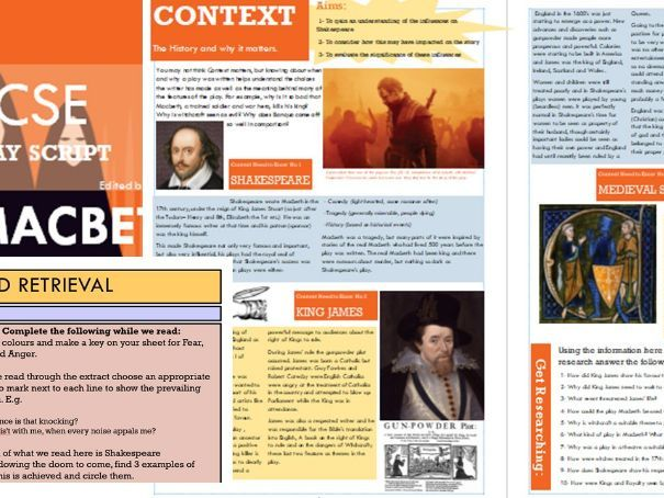 Macbeth: All lessons resourced with textbook and story materials