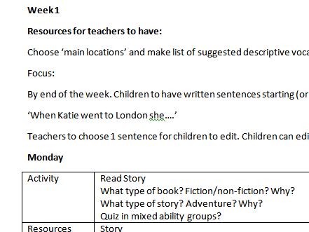 Katie In London James Mayhew Year 1 Talk 4 Writing plan