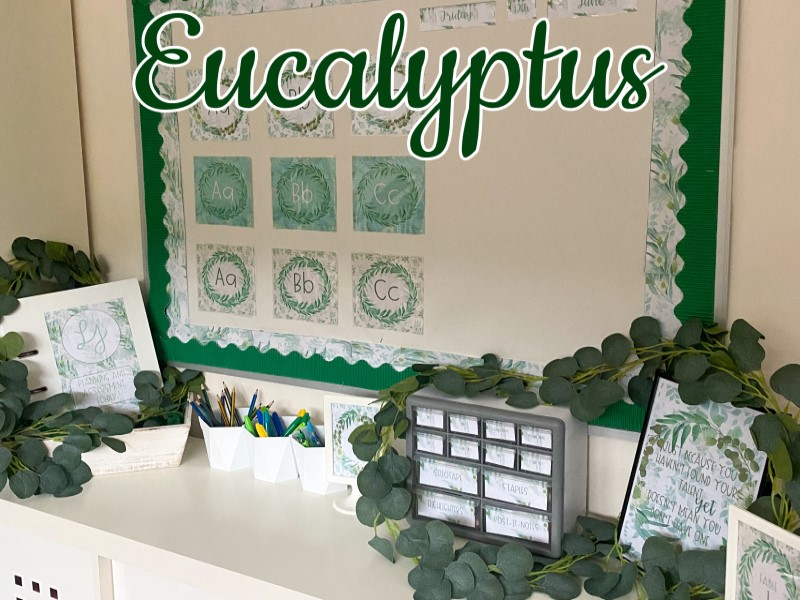 Classroom Display Decor Set: Eucalyptus