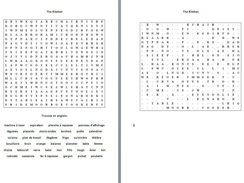 French wordsearch puzzles
