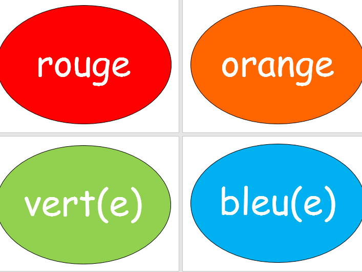 Numbers and colours in French display