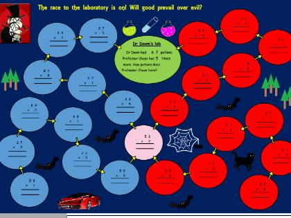 Dr Doom's multiplication game / activity for Year 3 (Not editable)