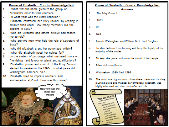 OCR SHP 1-9 -Elizabethan England Quizzes - Section 1 - Power of the Queen