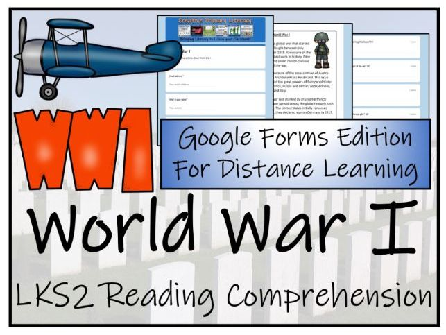 LKS2 World War I Reading Comprehension & Distance Learning Activity