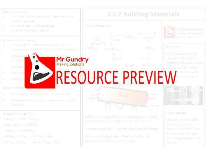 AQA C1.2 Building Materials Revision Sheet