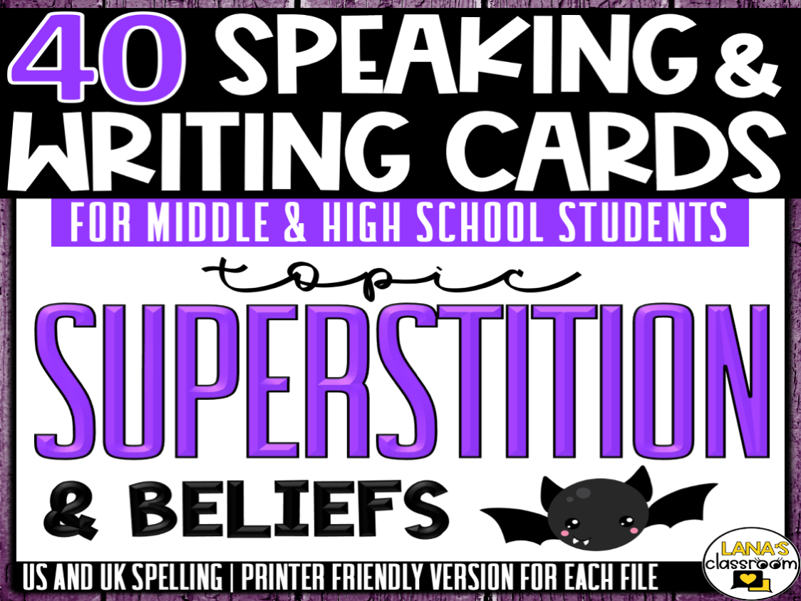 Superstition   ESL/ELL/ELA Speaking and Writing Activities   For Teens   BUNDLE