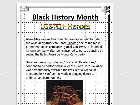 Black History Month LGBTQ+ Heroes Posters Display