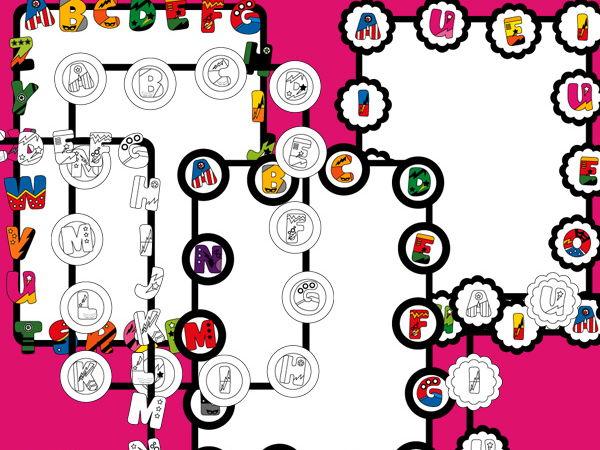 Digital borders clipart - Superhero alphabet