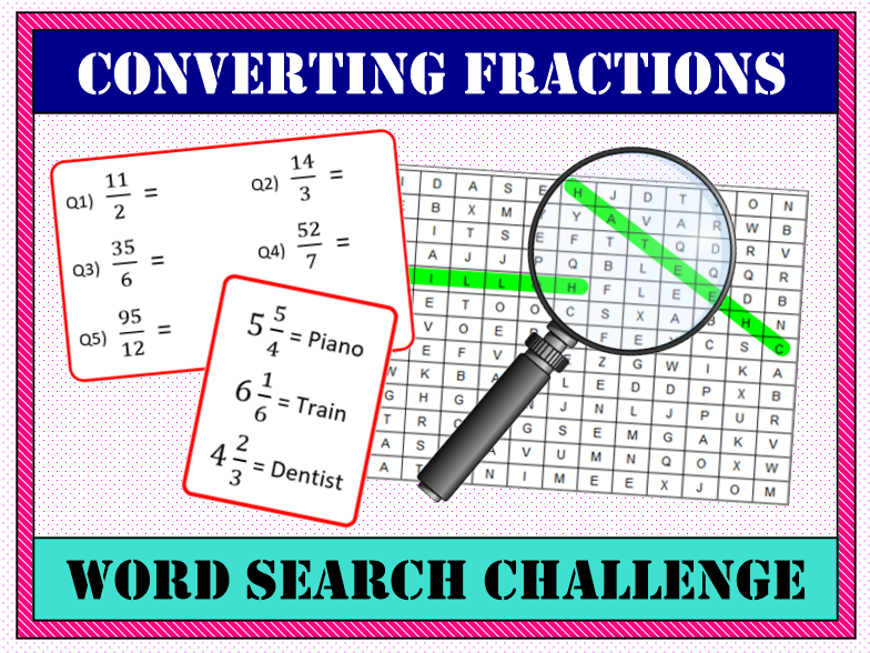 🍰 Converting Fractions (Improper to Mixed) Word Search 🔎