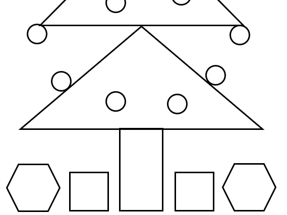 2D shape Santa and Christmas tree - 2 worksheets