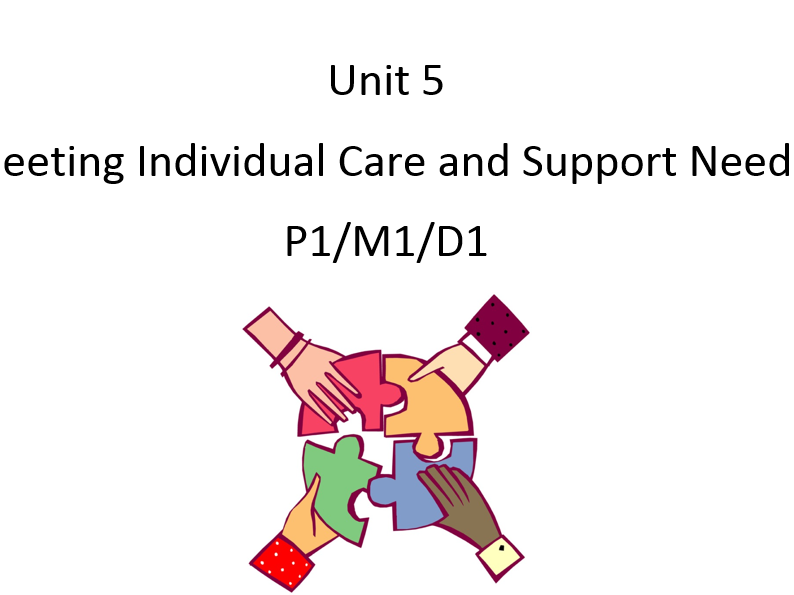 Health & Social Care Unit 5 Meeting Individual Needs P1 M1 D1 Activity Booklet