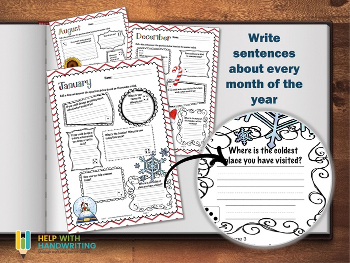 Months of the Year handwriting workbook