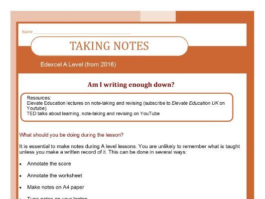 Edexcel A Level (2016-) Help on taking notes