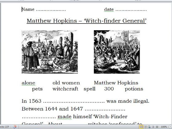 Matthew Hopkins Witchfinder General (powerpoint and differentiated worksheets)