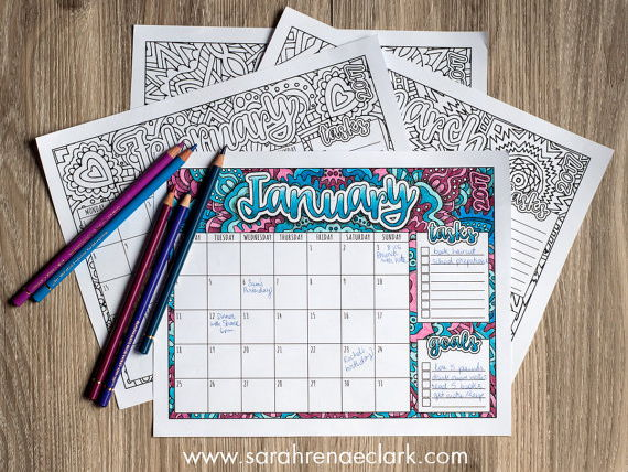 Printable 2017 Calendar Coloring Pages | A page for every month with goals and tasks lists