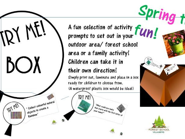Try me box, outdoor spring time fun activity for children, early years and primary, family activity