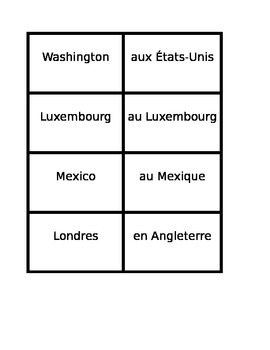 Countries and Capitals in French Concentration games