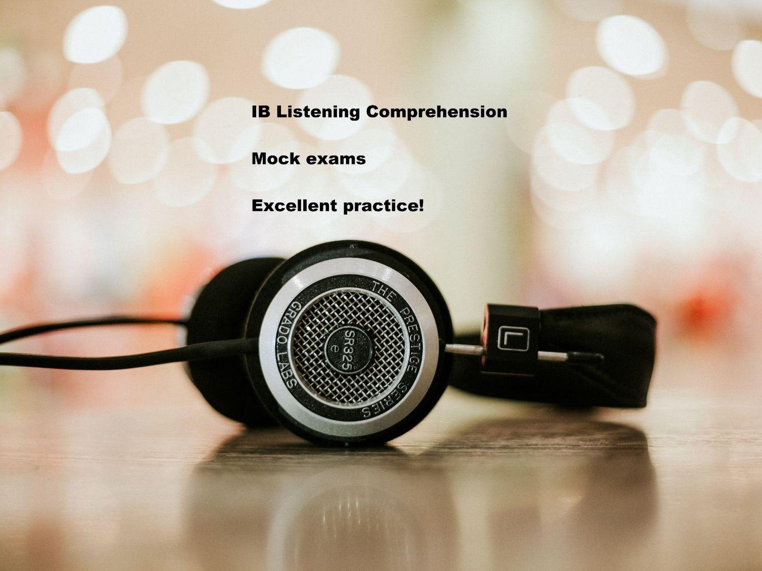 IB Spanish Listening comprehension Mock exams - 3 levels