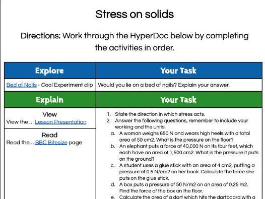 1.4.3 Stress on solids HyperDoc lesson (AQA KS3 Activate 2)