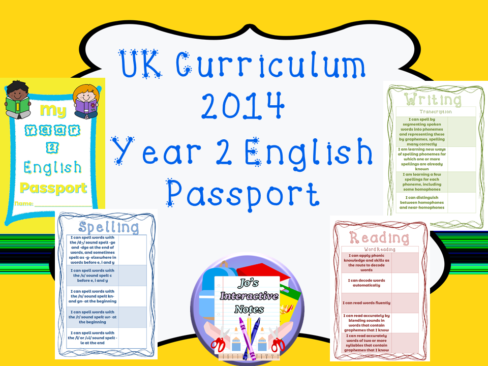 Year 2 National Curriculum English Passport