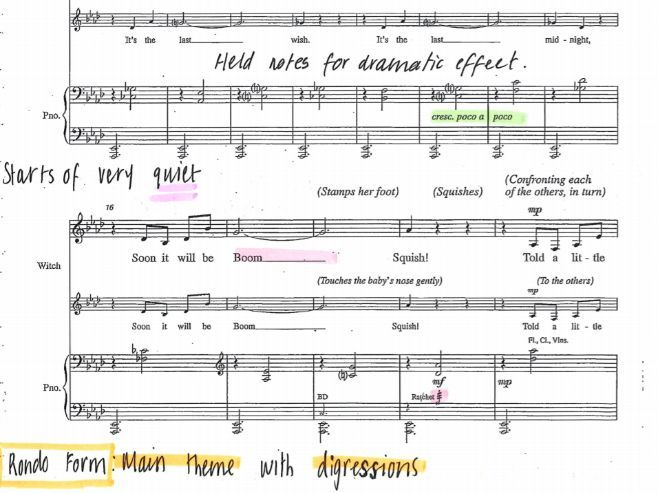 Last Midnight INTO THE WOODS Sondheim Score Annotated