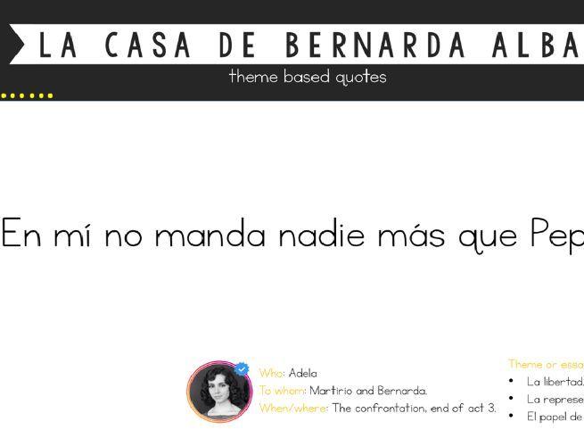 La Casa de Bernarda Alba (Theme based quotes flick PowerPoint)
