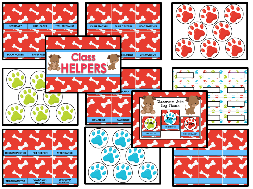Classroom Helpers Editable - Dog Theme